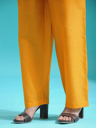 Yellow Tie-up Waist Handloom Silk Cotton Pants