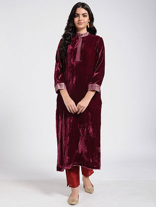 Maroon Silk Velvet Kurta with Brocade
