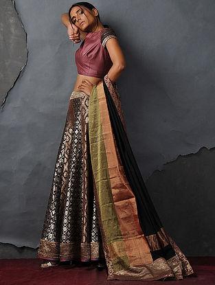 Maroon Tussar Silk Blouse by Jaypore