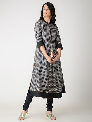 Black-Beige Printed Tussar Silk Kurta with Pleats and Zari Top Stich