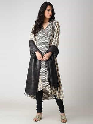 Beige-Black Printed Tussar Silk Kurta with Pleats