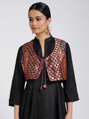 Maroon Vintage Benarasi Silk Brocade Gillet