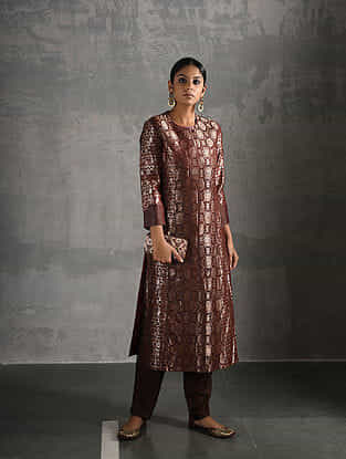 Maroon Vintage Benarasi Silk Brocade Kurta with Pockets