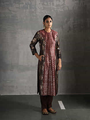 Maroon Vintage Benarasi Silk Brocade Kurta with Pockets