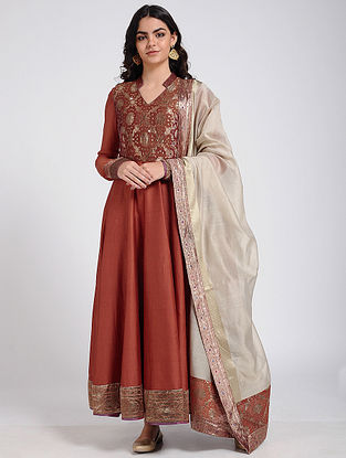 Rust Silk Kalidar Kurta with Vintage Benarasi Brocade