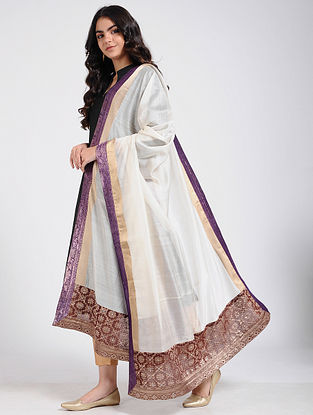 Ivory Silk Cotton Dupatta with Brocade