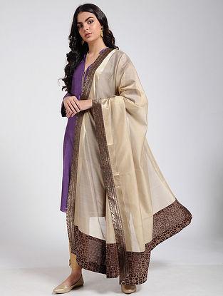 Beige Silk Cotton Dupatta with Brocade