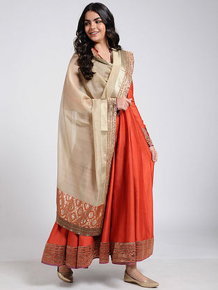 Beige Silk Cotton Dupatta with Brocade