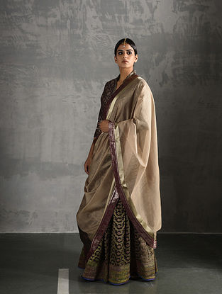 Beige-Maroon Chanderi Dupatta with Brocade