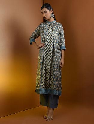 Beige-Blue Ajrakh Gajji Silk Kurta with Top Stitch and Lace Detail by Jaypore