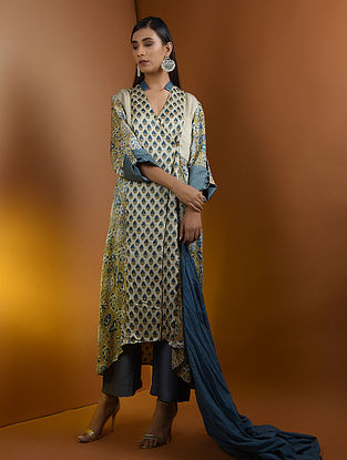 Beige-Blue Ajrakh Gajji Silk Kurta with Top Stitch and Lace Detail by Jaypore