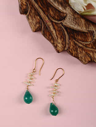 Gold Earrings with Green Onyx and Pearls