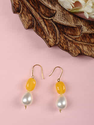 Gold Earrings with Yellow Chalcedony and Shell Pearls
