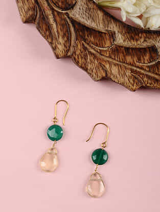 Gold Earrings with Green Onyx and Lemon Topaz Quartz