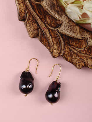 Gold Earrings with Black Freshwater Baroque Pearls