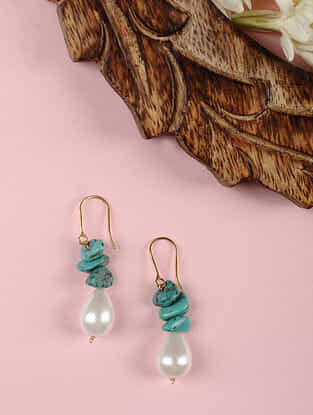 Gold Earrings with Turquoise and Shell Pearls