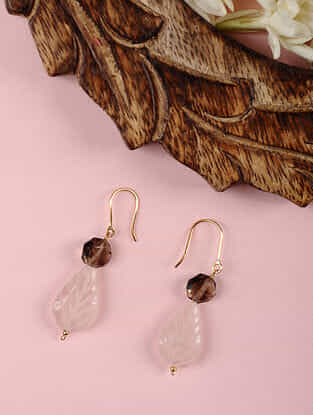 Gold Earrings with Rose Quartz and Smoky Quartz