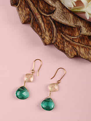 Gold Earrings with Green Quartz and Lemon Topaz