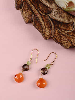 Gold Earrings with Carnelian, Smoky Quartz and Peridot