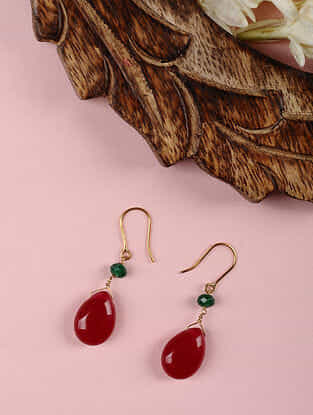 Gold Earrings with Red Jade and Aventurine
