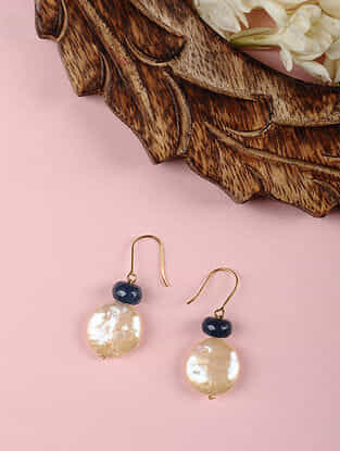Gold Earrings with Sodalite and Freshwater Pearls