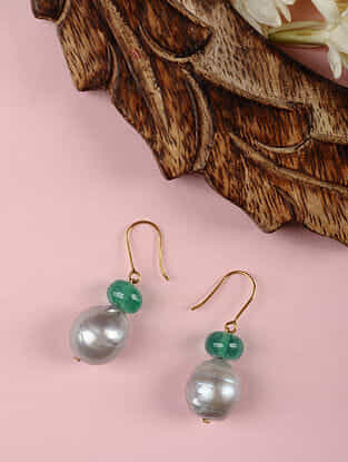 Gold Earrings with Green Quartz and Grey Baroque Pearls.