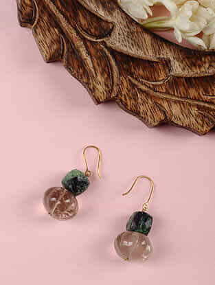 Gold Earrings with Ruby Zoisite and Smoky Quartz