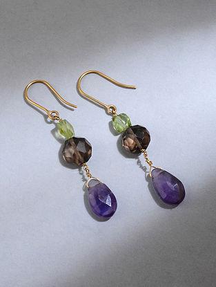 Gold Earrings with Amethyst, Smoky Quartz, Peridot