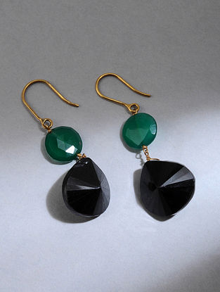 Gold Earrings with Black Onyx and Green Onyx
