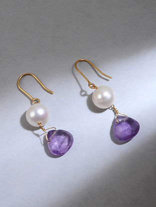 Gold Earrings with Amethyst and Freshwater Pearls