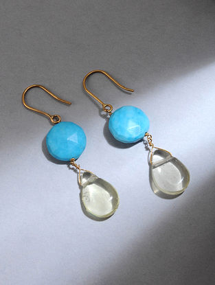 Gold Earrings with Turquoise and Lemon Quartz