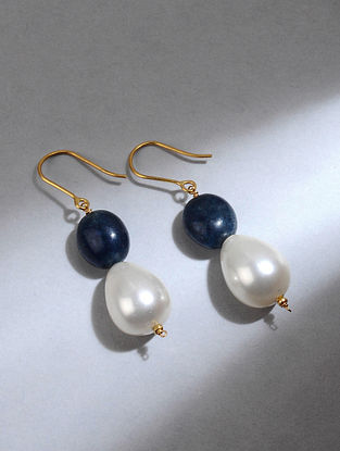 Gold Earrings with Blue Quartz and Shell Pearls
