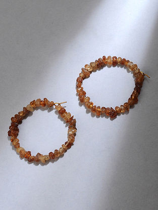 Gold Hoop Earrings with Amber Quartz