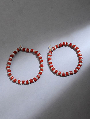 Gold Hoop Earrings with Coral and Pearls