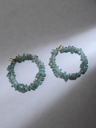 Gold Hoop Earrings with Apatite Quartz