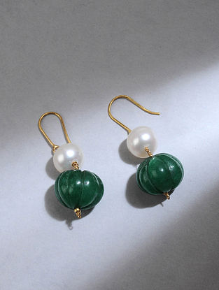 Gold Earrings with Green Quartz and Pearls