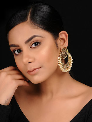 Classic Gold Tone Filigree Chandbali Earrings