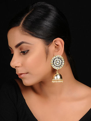 Black Gold Tone Kundan Inspired Pearl Beaded Enameled Jhumkis