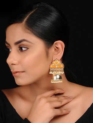 Orange-Red Gold Tone Zirconia and Meenakari Enameled Brass Jhumkis