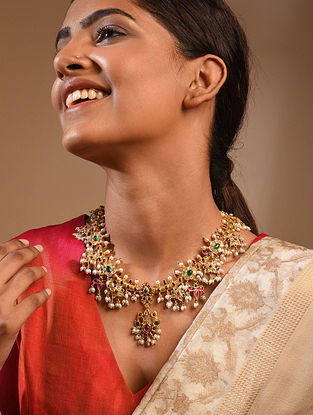 Kempstone Encrusted Gold Plated Tribal Silver Necklace