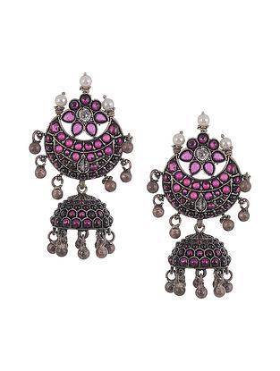Kempstone Encrusted Tribal Silver Jhumki Earrings with Pearls