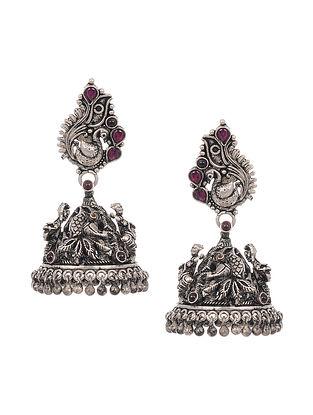 Kempstone Encrusted Temple Silver Jhumki Earrings