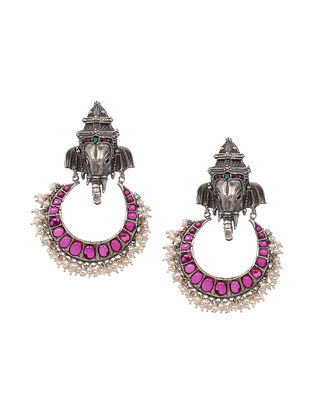 Kempstone Encrusted Temple Silver Earrings with Pearls