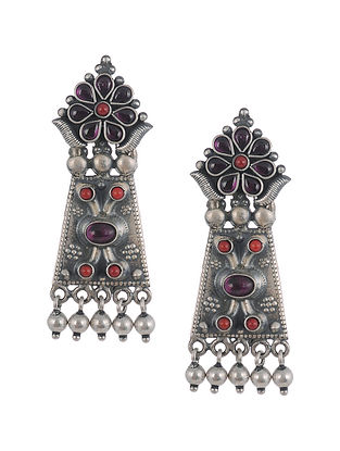 Kempstone and Coral Encrusted Tribal Silver Earrings