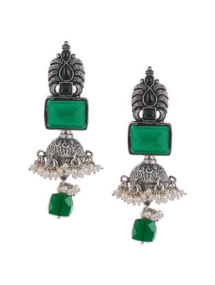 Green Temple Silver Jhumki Earrings with Pearls