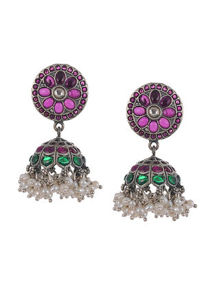 Kempstone Encrusted Temple Silver Jhumki Earrings with Pearls