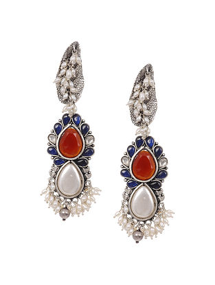 Red Blue Tribal Silver Earrings with Pearls