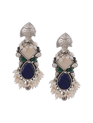 Blue Green Tribal Silver Earrings with Pearls