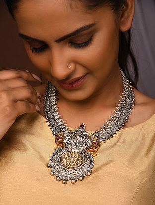 Kempstone Encrusted Dual Tone Temple Silver Necklace