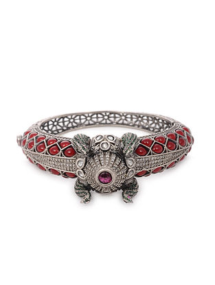 Red Maroon Tribal Silver Bangle (Bangle Size: 2/4)